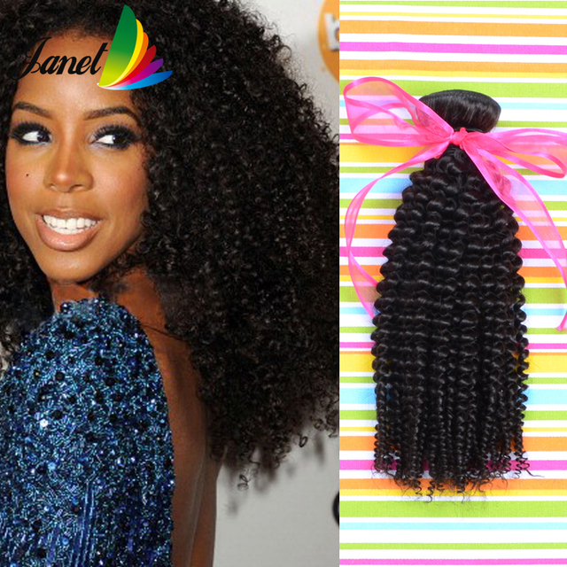 Janet Colorful Afro Curly Hair Brazilian Raw Weave Human 3 4 Pcs