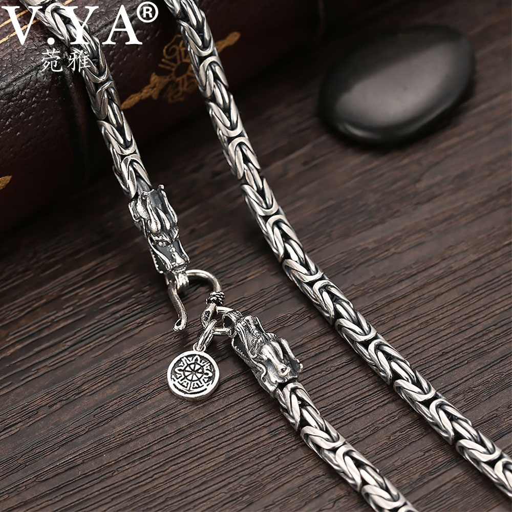 V Ya S925 Men S Chains 925 Sterling Silver Necklace Men Dragon Clasp Heavy Thick Chain Necklace Handmade Thai Silver Jewelry Silver Jewelry Chain 925 Sterlingmen Chain Aliexpress