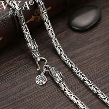 V.YA S925 erkek zincirleri 925 ayar gümüş kolye erkekler ejderha toka ağır kalın zincir kolye el yapımı tay gümüş takı