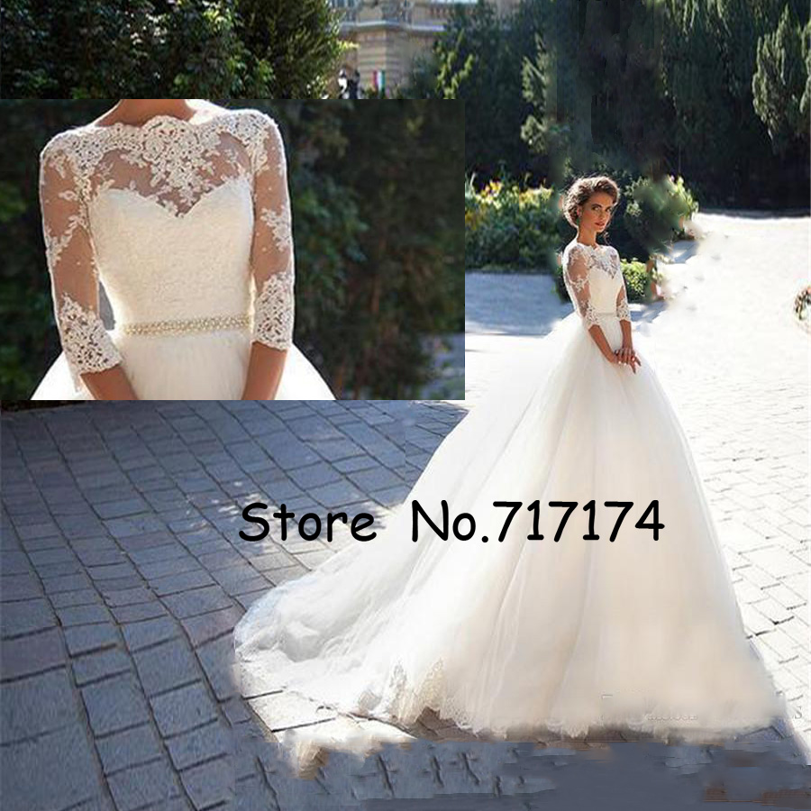 Bateau With Half Sleeves Pearls White Tulle Wedding Ball Gowns Cheap Bridal Dresses Modest Vintage Lace Millanova Wedding Dresse