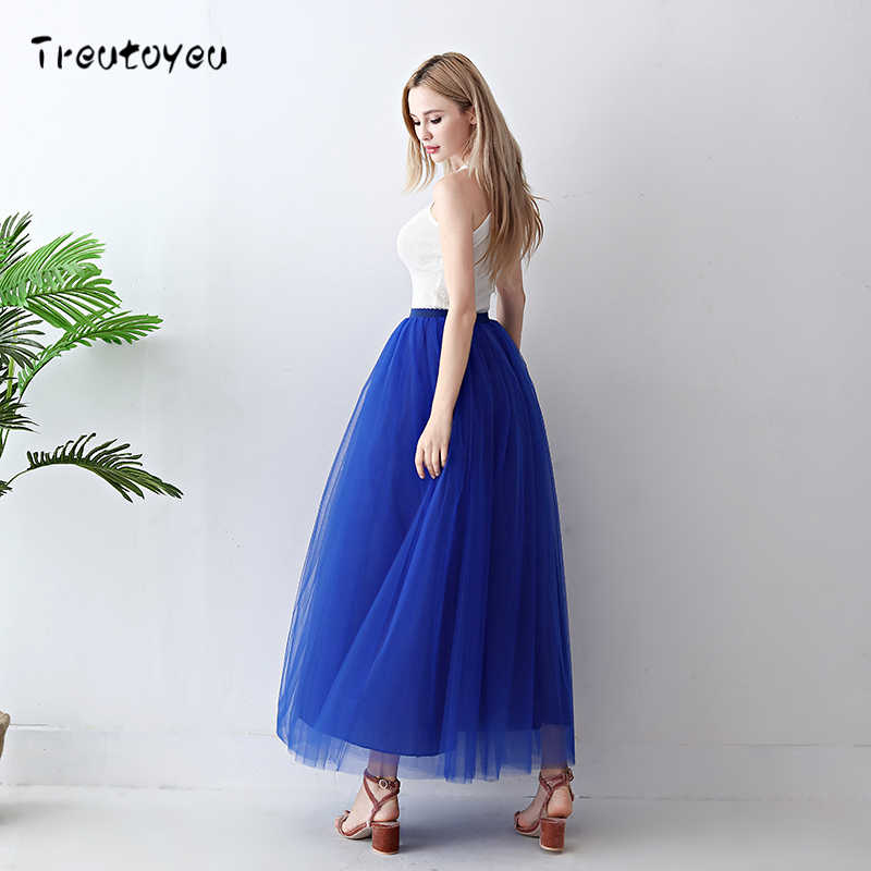 Treutoyeu 5 слоев Макси Длинная женская юбка Тюлевая юбка подружки невесты Свадебная юбка свободный размер Faldas Saias Femininas Jupe
