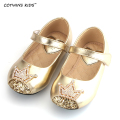 CCTWINS KIDS 2017 spring children mary jane for baby girl rhinestone kid brand toddler pu leather crown shoe flat glitter loafer