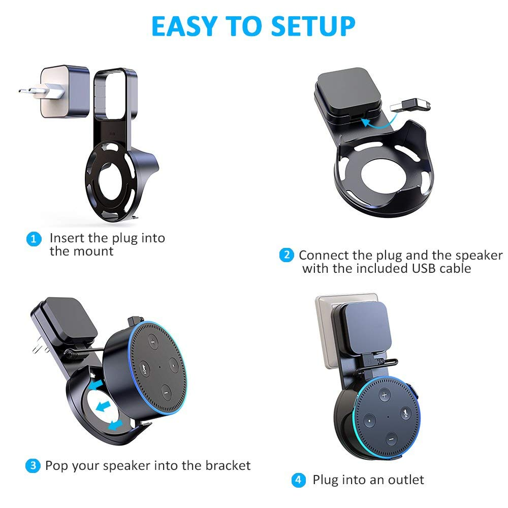 Confident Outlet Wall Mount Holder For Echo Dot 3 Space-saving Stand For Smart Home Speakers With Cord Arrangement Portable High Quality Portable Audio & Video Speaker Accessories