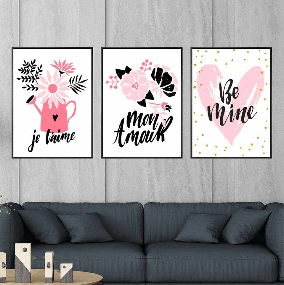 Vinsonloud Home Decor Wall Painting Simple Print Canvas Printing Bedroom Oil Unframed Drawing Pink Mood Love Lip Print Painting Calligraphy Aliexpress