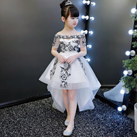 Sweet dress for toddler floral dress embroidery shoulder less Piano clothes for girls children flower girl dresses white wedding