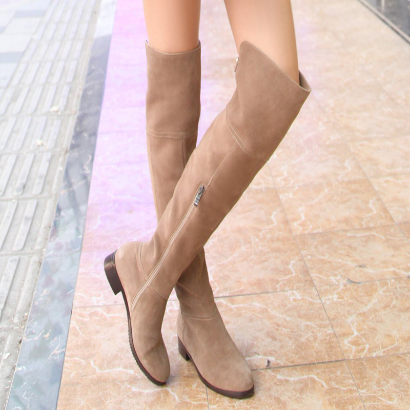 все цены на Nubuck Leather Thigh High Lady Boots Buckle Strap Stylish Brand Women Long Boots Handmade Block Heel Winter Female Plush Shoes