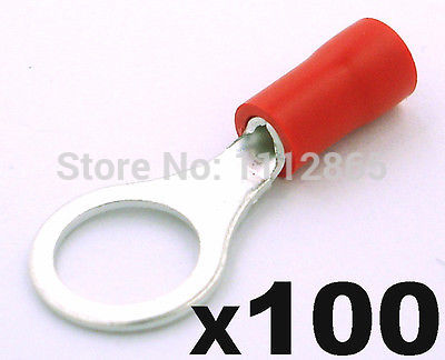 100PCS/LOT VINYL INSULATED RING TERMINALS 22-10AWG #8 4.3MM STUD SIZE ELECTRICAL CONNECTOR CRIMPING TIPS SPADE FREE SHIPPING 660v ui 10a ith 8 terminals rotary cam universal changeover combination switch