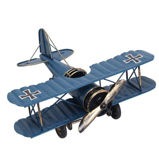 Retro Metal Biplane Model Figurine