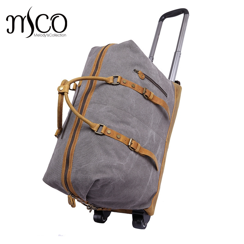 Melodycollection Canvas Leather Men Travel Carry on Luggage Bags Men Duffel  Bag Travel Tote Large capacity 42f715efe96ba