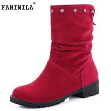 Fanimila размеры 34–43 женские сапоги до середины икры с заклепками полусапожки на высоком каблуке Сапоги и ботинки для девочек для холодной зимняя обувь Теплые Botas женские зимние обувь