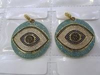 Teal blue Diamond Crystal Eyes Micro Crystal Pave Diamond Pendant gunmetal Jewelry Focal Round Disc Evil Jewelry beads 28-40mm 2