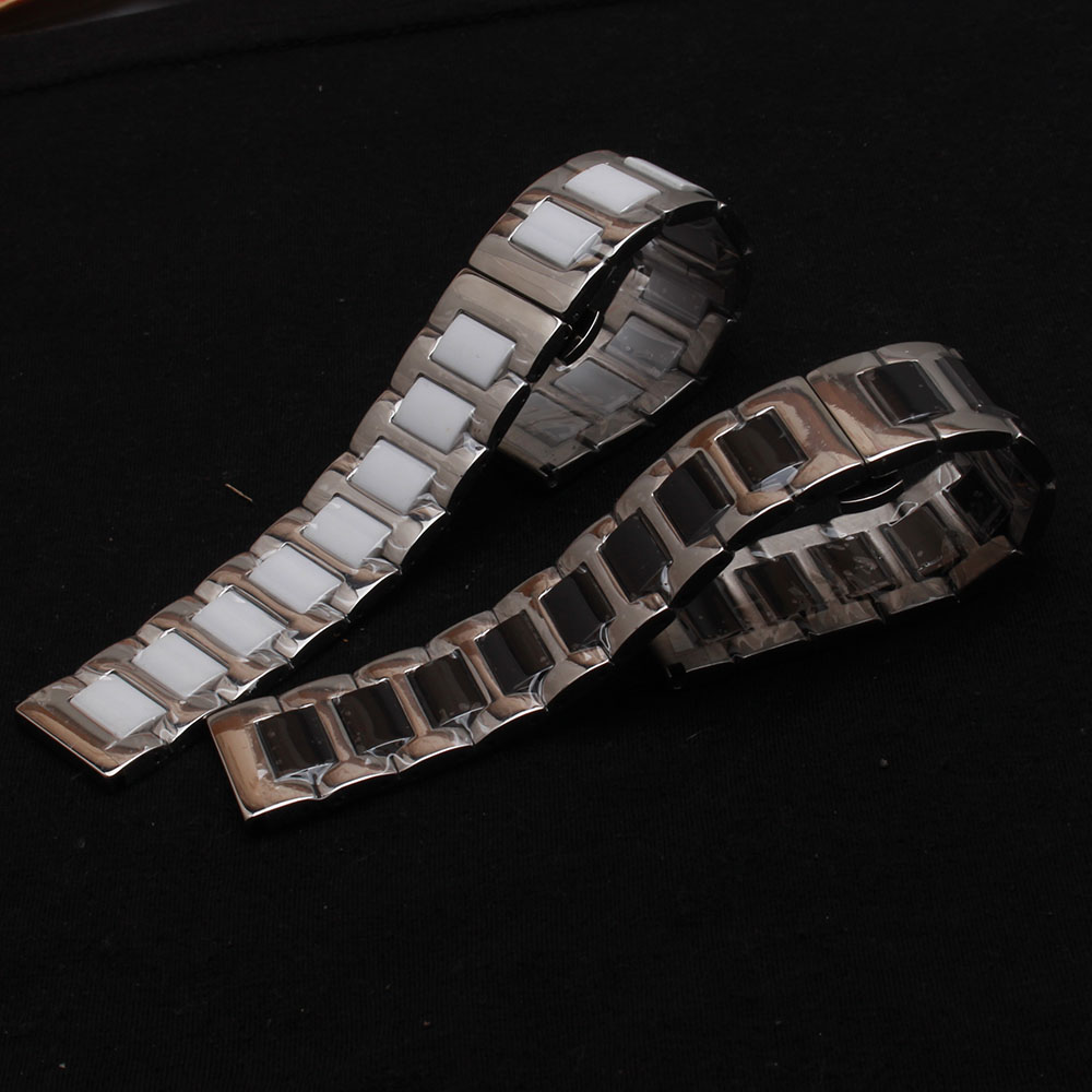 Ceramic and stainless steel watchbands bracelet Black White watch band watch strap Butterfly Buckle clasp 14 16mm 18mm 20mm 22mm hot leisure watchbands stainless steel watch band strap straight snaps bracelet 18mm 20mm 22mm