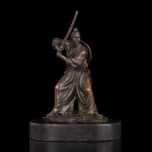 ATLIE BRONZES  Statue Bronze Japanese Samurai Revolving Swords  Sculptures Wushu Martial Arts Souvenirs
