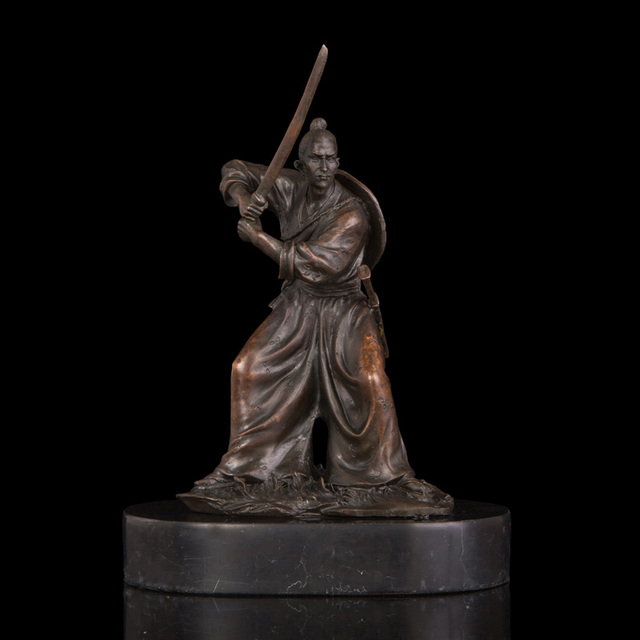 atlie bronzes statue bronze japanese samurai revolving swords