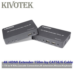 Image 1 - 4K HDMI/USB Extender Transmitter Receiver 150m by CAT5E/6 Adapter Cable Network UTP Connector,1TX NRXs For HDTV PC Free Shipping