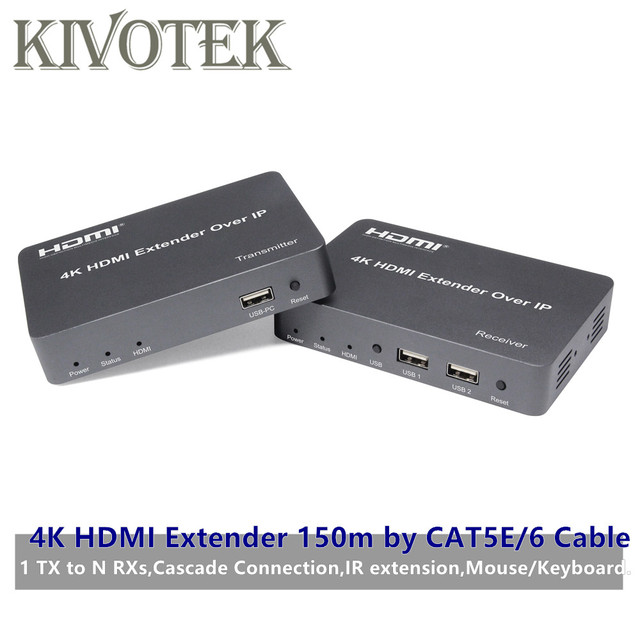 4K HDMI/USB Extender Transmitter Receiver 150m by CAT5E/6 Adapter Cable Network UTP Connector,1TX NRXs For HDTV PC Free Shipping
