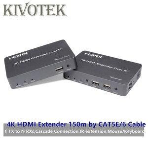 Image 1 - Cat5e/6 어댑터 케이블 네트워크 utp 커넥터에 의해 4 k hdmi/usb 익스텐더 송신기 수신기 150 m, hdtv pc 용 1tx nrxs 무료 배송