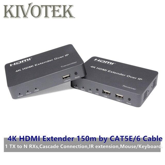 Cat5e/6 어댑터 케이블 네트워크 utp 커넥터에 의해 4 k hdmi/usb 익스텐더 송신기 수신기 150 m, hdtv pc 용 1tx nrxs 무료 배송
