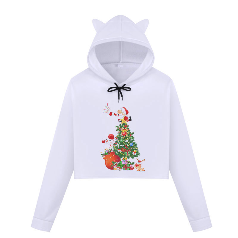 Christmas Hoodies Oversize Lady Sweatshirts Pullover Casual <font><b>Harajuku</b></font> <font><b>Kawaii</b></font> <font><b>Sexy</b></font> Cropped Sweatshirt Women Tops Christmas Clothes image
