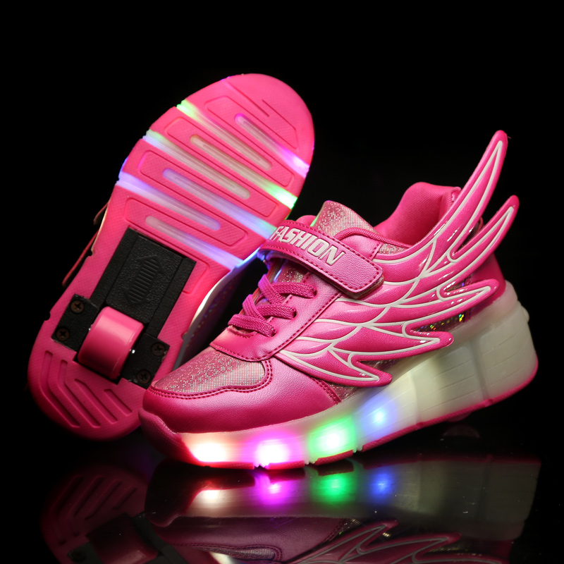 Children Wheels Shoes LED Lighted Roller Shoes For Girls & Boys Sport Casual Fashion Kids Roller Sneakers Size 29-41Children Wheels Shoes LED Lighted Roller Shoes For Girls & Boys Sport Casual Fashion Kids Roller Sneakers Size 29-41