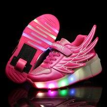 Children Wheels Shoes LED Lighted Roller Shoes For Girls & B