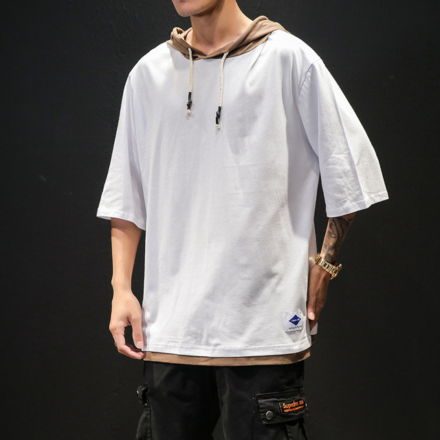 Cotton Half Sleeve T-shirt Men Large Size Solid Color Summer Hooded T-Shirt Male Slim Fit Casual Comfortable Streetwear T shirt 6