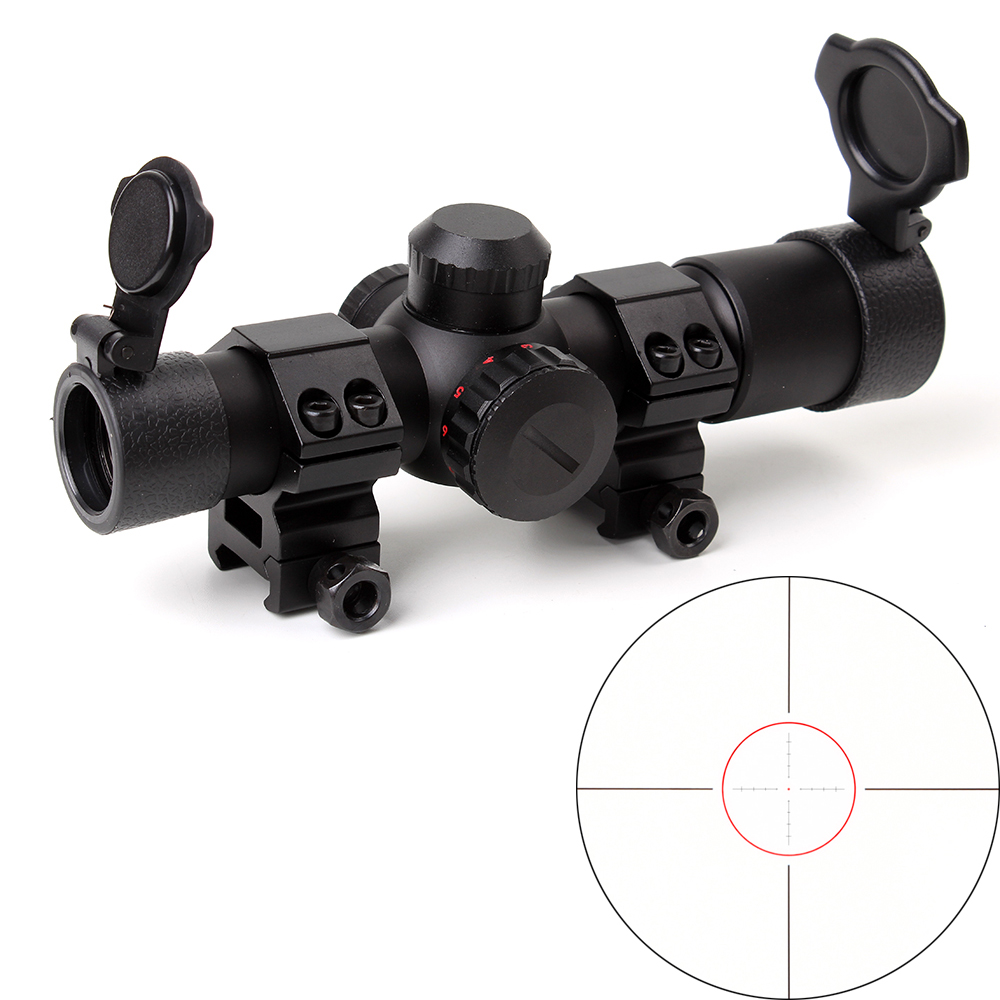 Tactical Ohhunt 4 5x20E Compact Hunting Rifle Scope Red Illuminated Glass Etched Reticle Riflescope With Flip