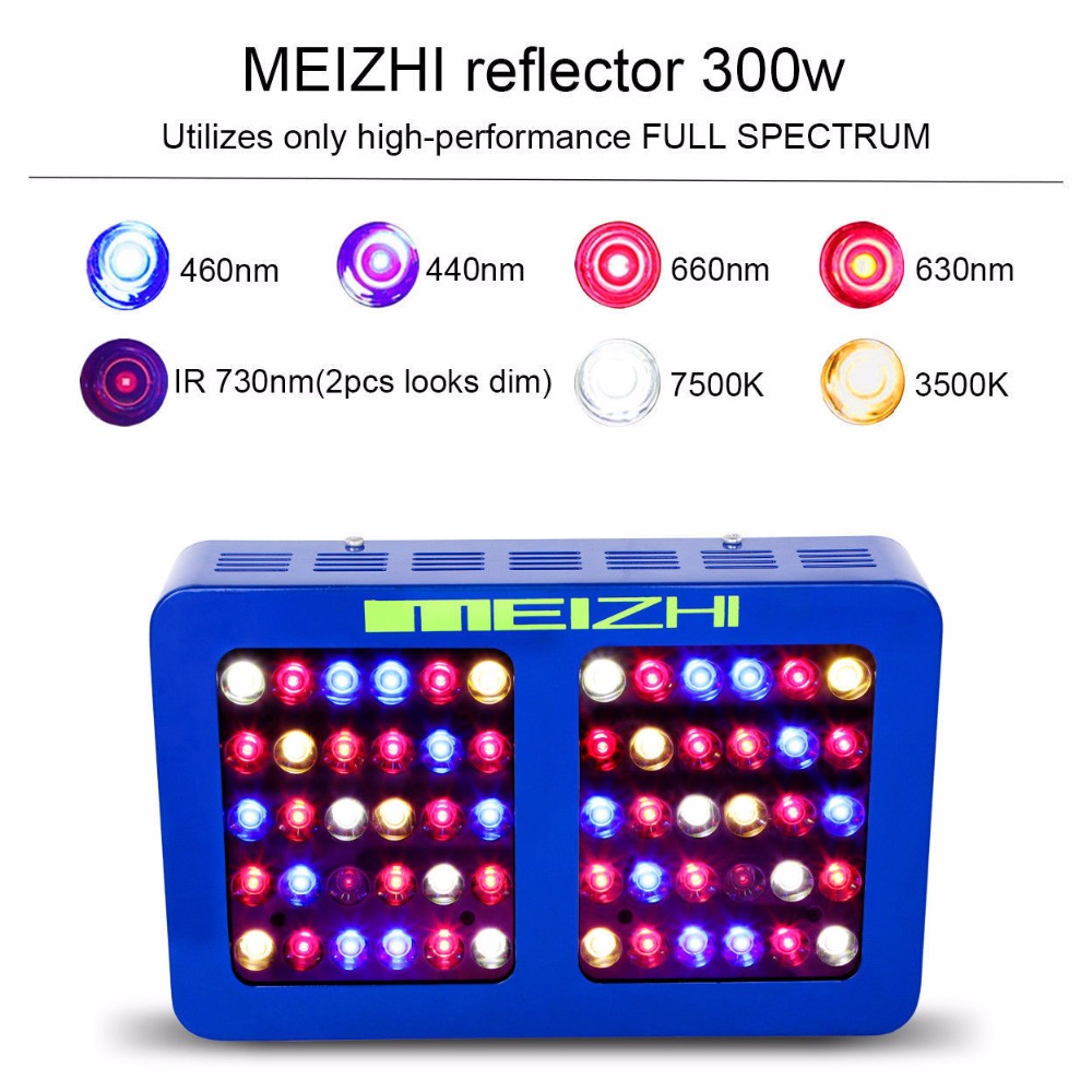 MEIZHI Reflector 300W LED Grow Light Full Spectrum Hydroponics Indoor Plant Lamp Hydroponic System for Greenhouse 300w grow led light ufo full spectrum 277leds smd5730 plant grow lamp for hydroponics system aquarium grow tent flowering