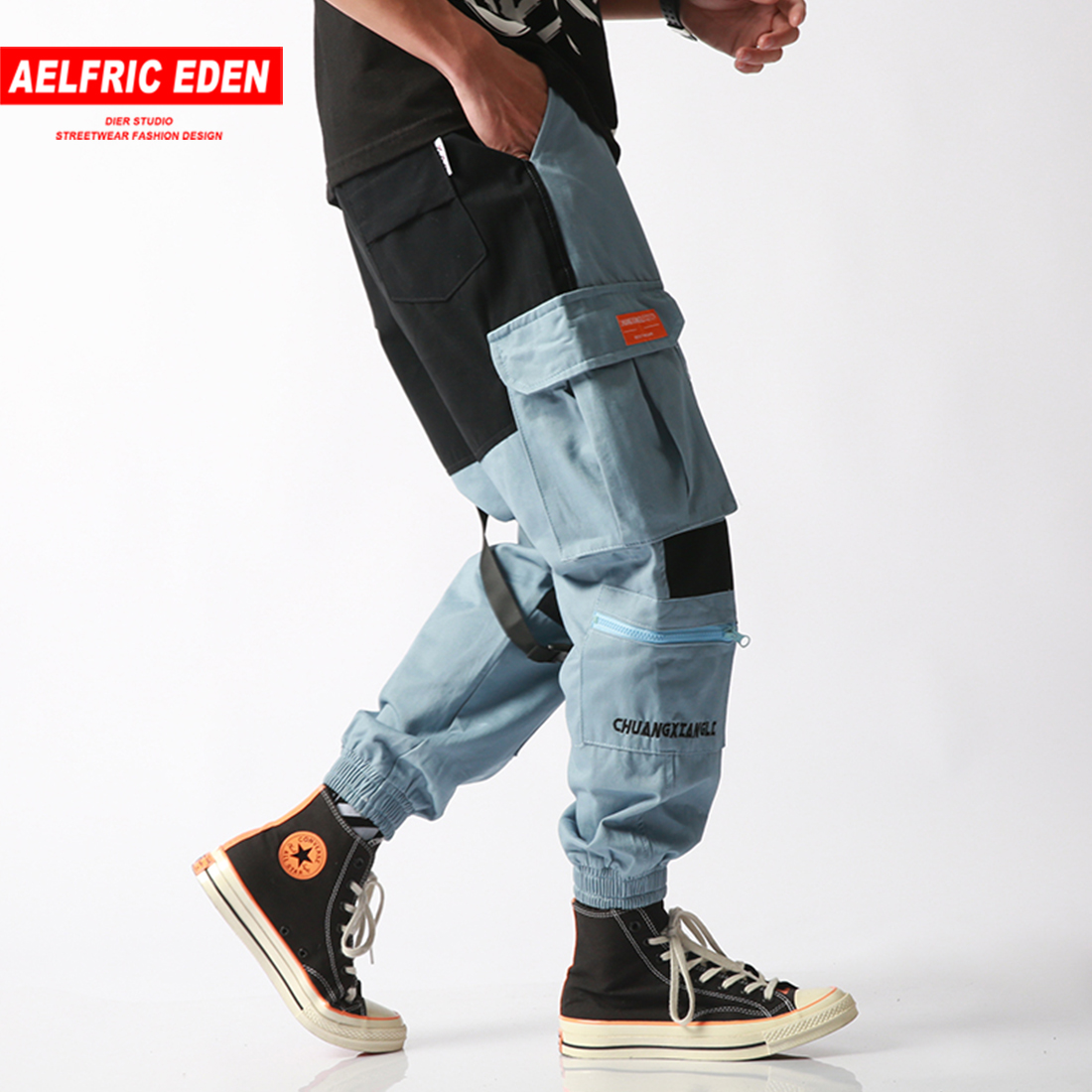 Aelfric Eden Cargo Pantaloni Degli Uomini 2019 Harajuku Streetwear Blocco Di Colore Tasche Harem Jogging Casual Pantaloni Di Skateboard Abbigliamento Sportivo Stile (In) Alla Moda;