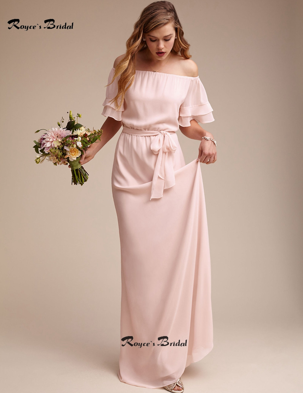 Simple Off the shoulder Long Chiffon Wedding Dress Maid of Honor ...