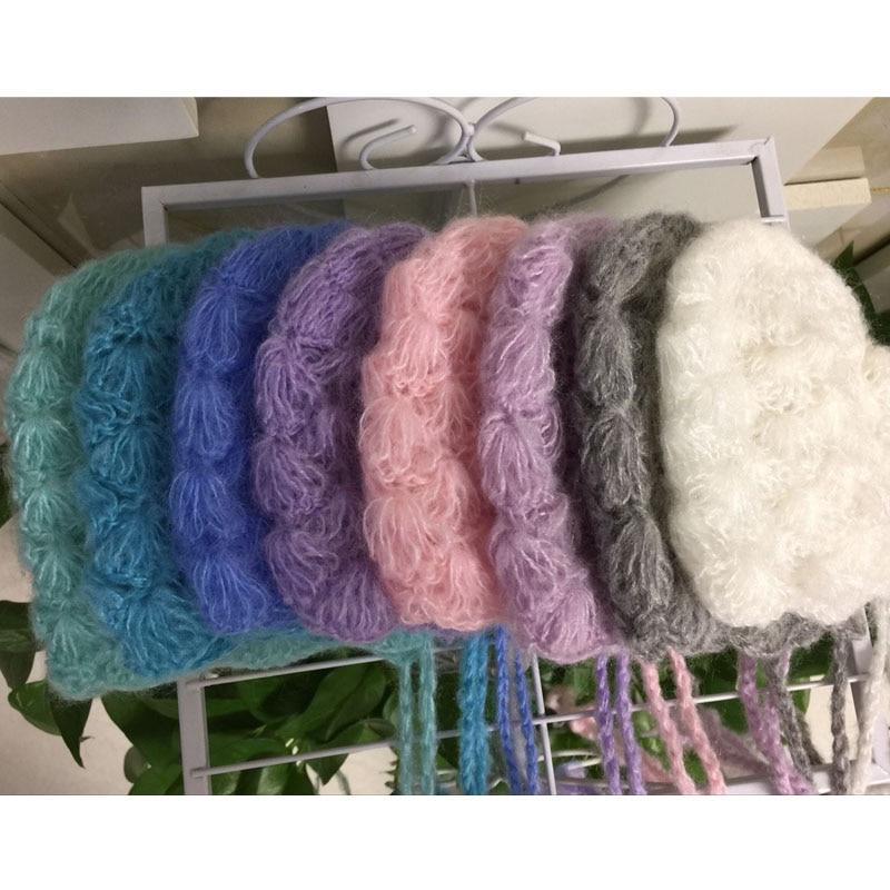 Mohair Baby Hat Newborn Cap Crochet Cute Baby Beanie Newborn Photography Props Newborn Hat Baby Bonnet Newborn Fotografia