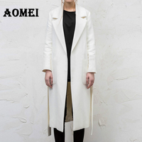 Women Wool Coats White with Waistband Solid Long Trench Winter Lady Outerwear Clothes Autumn Fall Cardigan Overcoat Cape Jackets