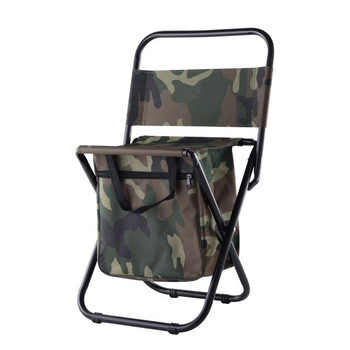 Camouflage Foldable Chair Fishing Bags 600D Polyester+X Frame Steel Pipe Load 100kg Fishing Chair Integrated Outdoor Fishing Bag