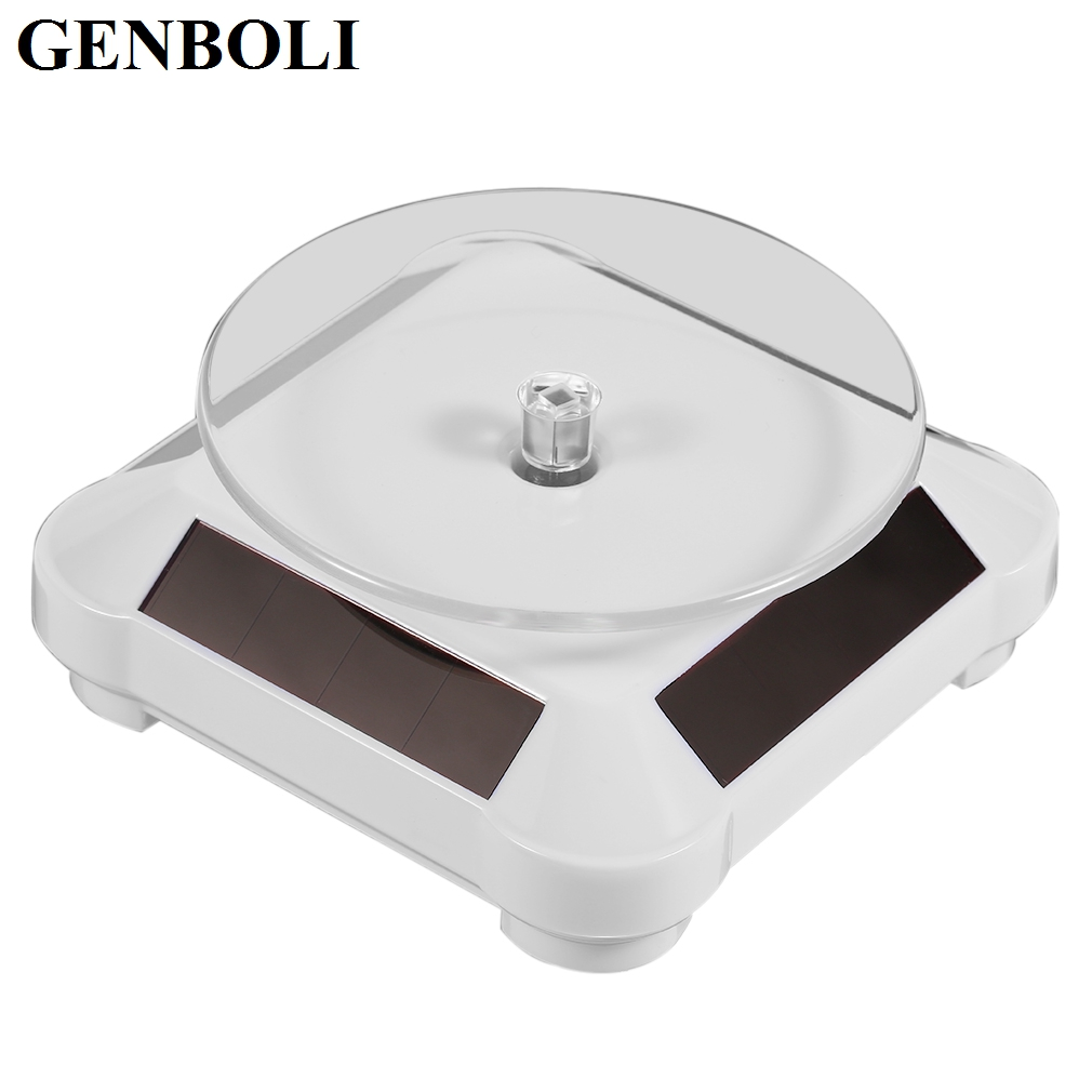 GENBOLI Automatic Jewelry Solar Rotating Showcase Stand 360 Turntable For Necklace Bracelet Watch Jewelry Display Showcase