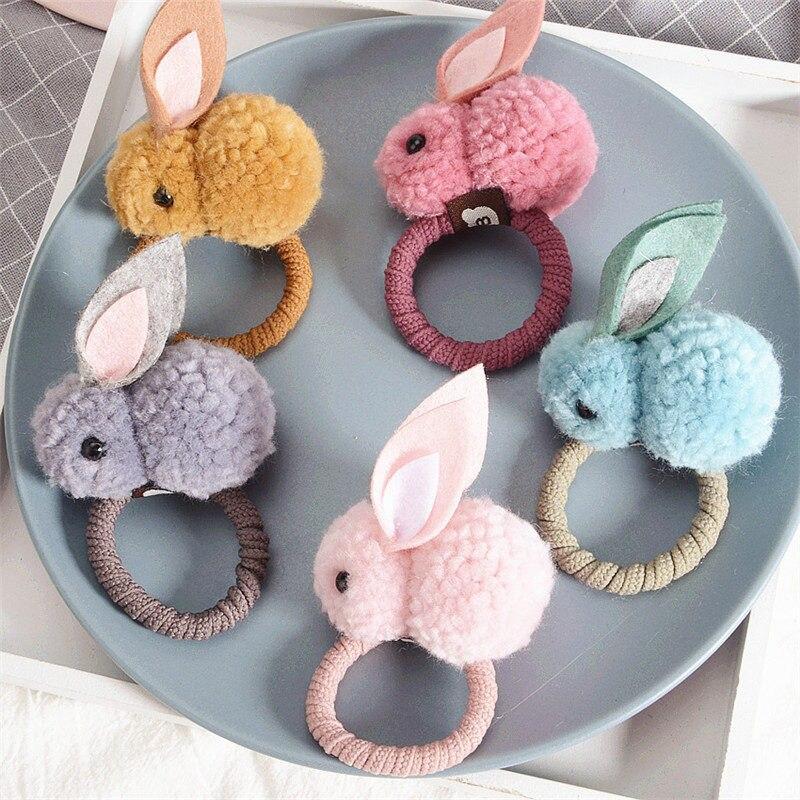 Cute hair ball stereo rabbit plush ring female tied ears rope headdress rubber band children small princes