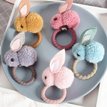 Cute hair ball stereo rabbit plush ring female tied ears rope headdress rubber band children small princes