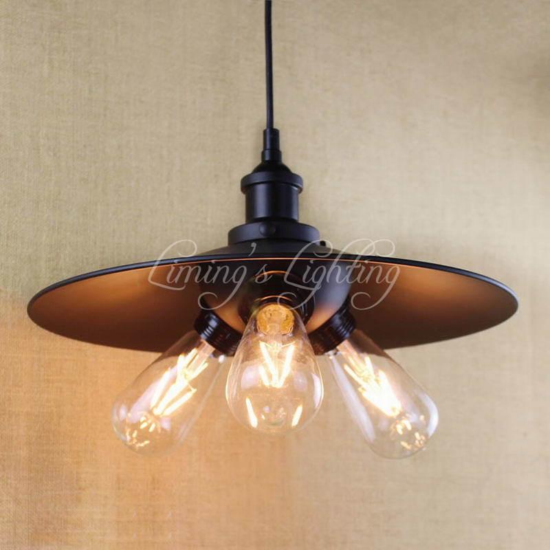 3 E27 Holder Antique Pendant Lamp Kitchen Light Cabinet Living Dining Room Edison Simple Metal Shade Cover Pendant Light Fixture