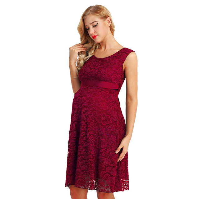 Women Maternity Elegant Floral Lace Overlay Sleeveless Baby Shower Party Cocktail Dress with Ribbon Belt for Maternity Clothing