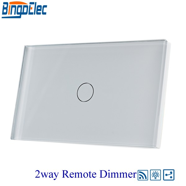 HOT SALE Bingoelec 1gang 2way Remote Dimmable Switch Wall Light Switch White glass panel, AU/US Standard ,110-240V bingoelec 1gang 2way light switch black glass panel touch smart switch eu uk standard ac110 250v hot sale