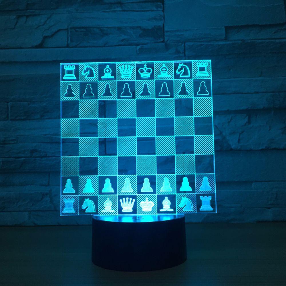 Chess 3D Lâmpada LED 7 Cores Noite Lâmpadas Led Toque Usb mesa Lampara Lâmpada Dormir Decoração de Casa Noturna Para Amigos Velho presente