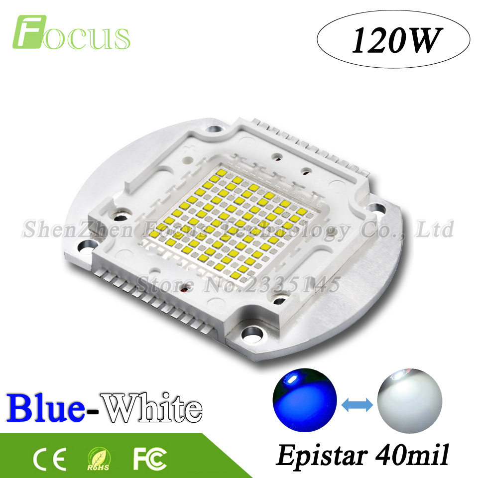 1Pcs High Power LED Chip 120W COB White + Blue 40mil 30-34V 350mA Light Beads 120 Watt 24Pin Use For Aquarium Lights