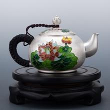 Cloisonne Silver Bottle Pure 999 Handmade Teaware Household Large Teapot Boiler