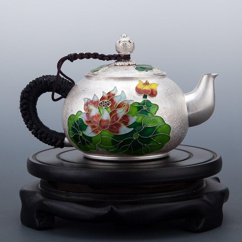 Ev ve Bahçe'ten Çaydanlıklar'de Emaye işi gümüş şişe saf gümüş 999 saf el yapımı Teaware ev büyük gümüş demlik 999 saf gümüş kazan çaydanlık title=
