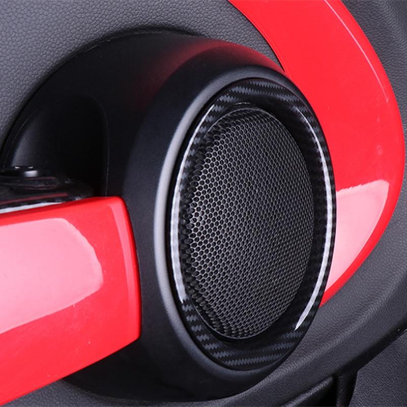 Otomobiller ve Motosikletler'ten Otomotiv İçi Çıkartmaları'de 2 adet İç kapı hoparlör ses kapağı karbon Fiber hoparlör halka aksesuarları Mini Cooper için F55 F56 F57 dekoratif çıkartmalar title=