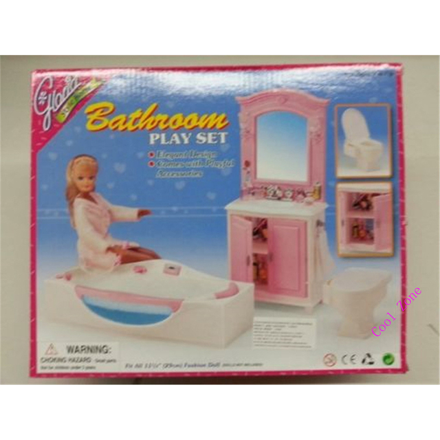 Miniature Bathroom Furniture For Barbie Doll House Pretend Play Toys For  Girl Free Shipping