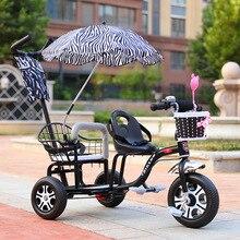 Двойная детская коляска, детский трехколесный велосипед, коляска с двойным сиденьем для путешествий, коляска с зонтиком, детская тележка с музыкой и светильник От 2 до 6 лет