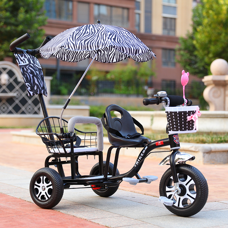 Twin Baby Stroller Children Tricycle Kids Bike Pram Double Seat Travel Umbrella Cart Baby Trolley with Music and Light 2 6Y