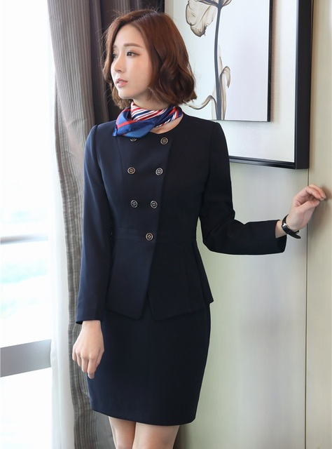 Formal Blazer Wanita Bisnis Setelan dengan Rok dan Jaket Set Wanita Kantor Setelan  Seragam Kerja OL a557a8455a