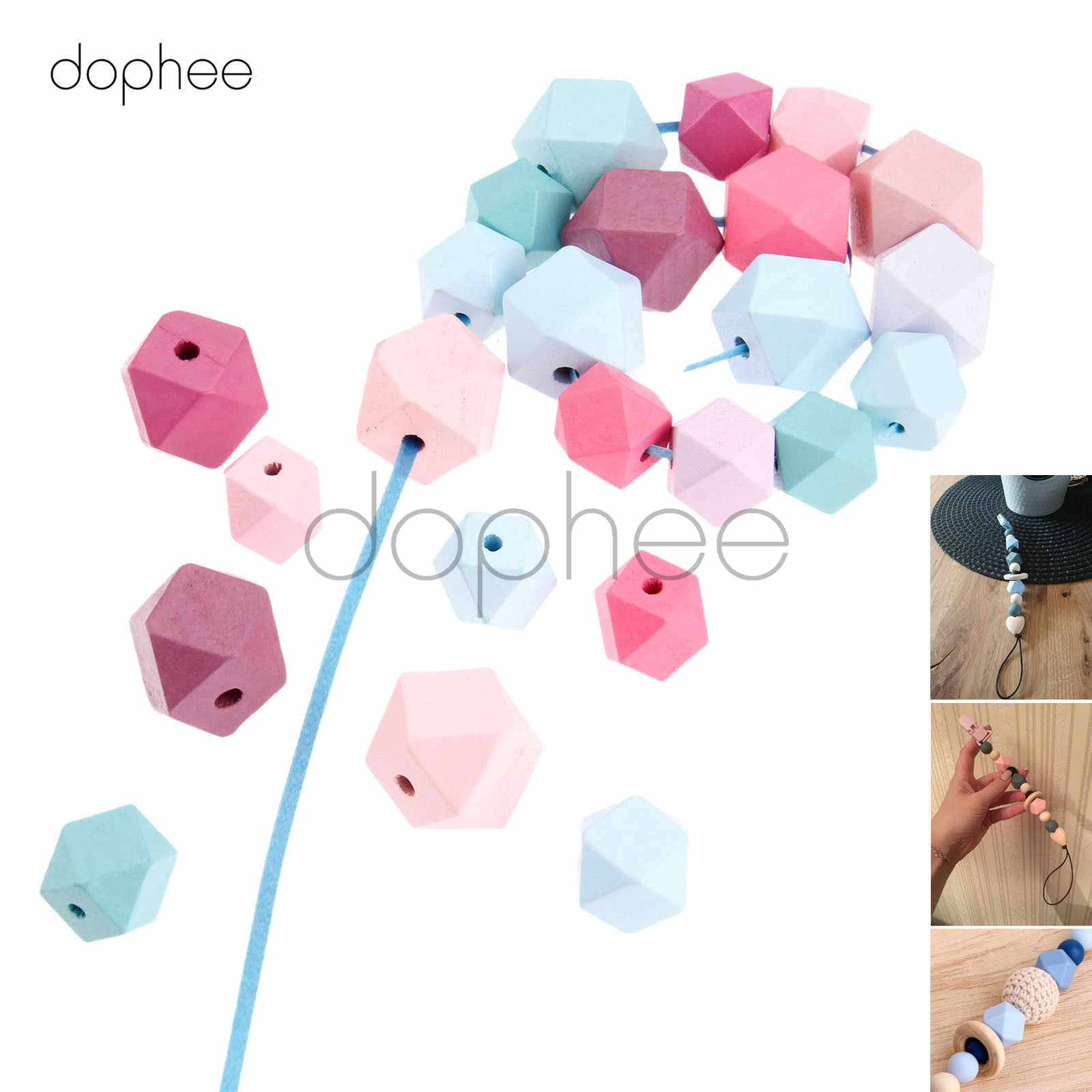 dophee 20pcs 20mm Mixed Color Crown Wood Beads Unfinished Natural Geometric Bead For Jewelry Making Garment Decoration Kids Toy