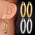 U7 Hoop Earrings Gold Plated Fashion Jewelry Gift Unique Drape Design Geometric Earrings For Women E467